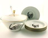 Soup Serving Set Big Tureen 6 Plates Altered  Porcelain Skeleton Hands Halloween Vintage Bowl Lid Porcelain Skull