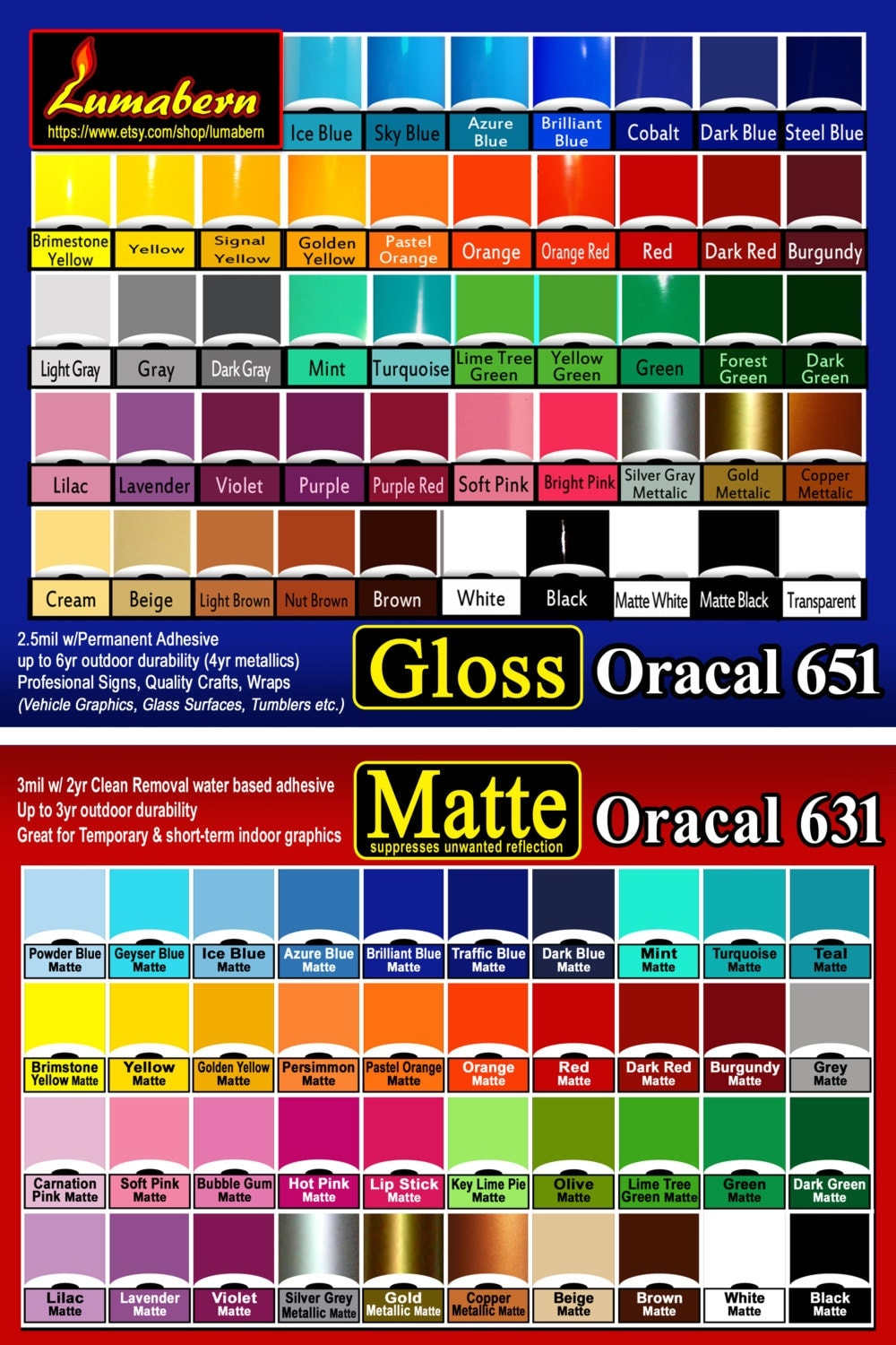 10 Rolls 12 Gloss Or Matte Adhesive Backed Vinyl Oracal