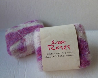 Felted Soap, Handmade Felted Soap - Sweet Roses