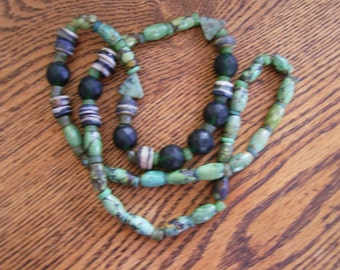 Green Turquoise and Glass Bead Necklace - 36""