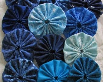yo yos 30 1 1/2  inch assorted  Shades of Blue fabric