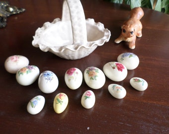 Sweet Little Ceramic Easter Basket and One Dozen Ceramic Glazed/Painted Eggs