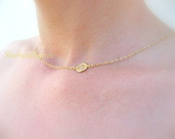 Dainty Gold Necklace Dainty Necklace Gold Disc Necklace Dainty Jewelry Gold Disk Necklace Bridesmaid Jewelry Dainty Gold Bridesmaid Necklace