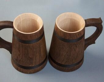 SET of 2 Mug from wood. Oak conical wood mug for drink. Handmade eco mug.