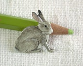 rabbit brooch hand painted miniature easter bunny pin spring celebration
