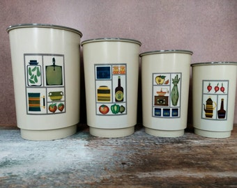 Vintage Kitchen Canisters.  Set of Four