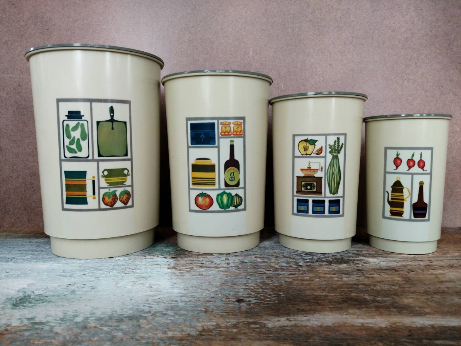 vintage kitchen canisters set of four