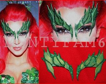 Poison Ivy Mask Leaves GREEN w/ Glitter Trim Leaf Costume Kim Kardashian Comic Con Cosplay
