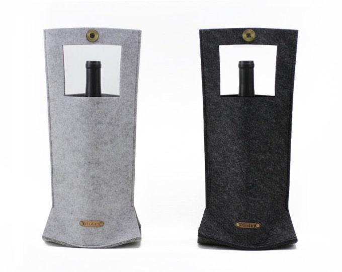 W1029 Set of 2 Wool Felt Wine Bottle Tote Bags