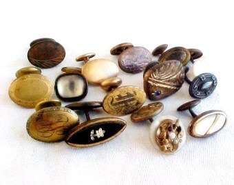Antique Single Men's Cuff Links - Fixed and Lever Backs - Art Bits - Assemblage Bracelet supply - Mixed Media Supply - Good Broken Jewelry