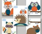 Kid wall art Baby Boy Nursery Art Baby Room Decor Hedgehog Nursery Bear Nursery badger Nursery Owl Nursery Fox Nursery set of 5 orange