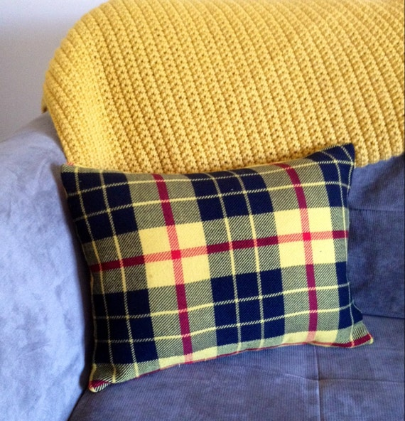 Retro Plaid Throw Pillow / Yellow Decorative by RoostandRoam