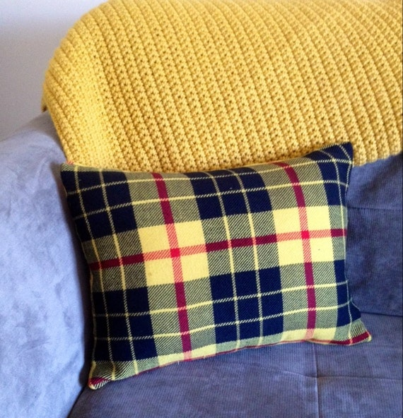 Decorative Plaid Pillows : Retro Plaid Throw Pillow / Yellow Decorative by RoostandRoam