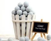 Garland DIY Felt Balls // Felt Pom Poms // Felt Beads // DIY Mobile // diy Necklace // SILVER // 1 cm 1.5 cm 2 cm 2.5 cm 3 cm 4 cm