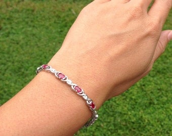 ONLY One Available 14 Karat White Gold Ruby and Diamond Bracelet