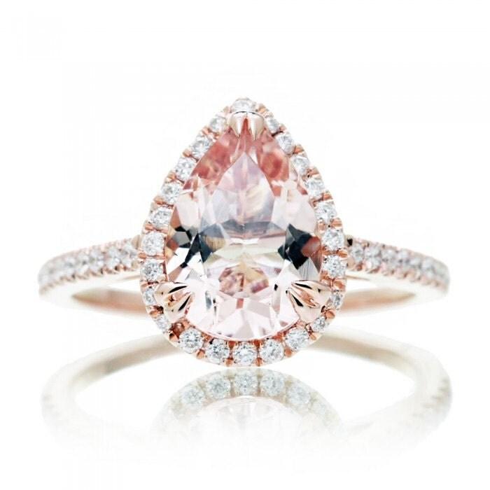 Rose Gold Pear Cut Morganite Ring 10x7mm Pear in Diamond Halo