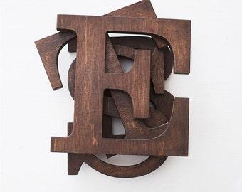 Wooden letters, vintage letters, home decor, letter E, custom letters