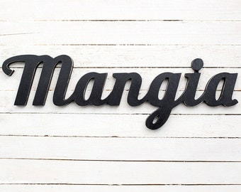 Mangia kitchen sign mangia wooden sign italian kitchen sign wall decor custom colours
