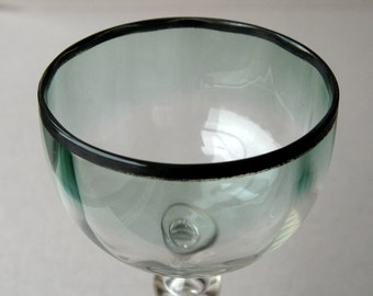 19th century Czech wine glass, Antique glass, Wine goblet, Silver Rim, Green wine glass, Knopped stem