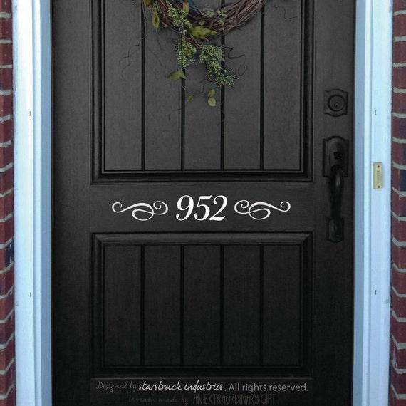 front door decal house number decorative front door decor. Black Bedroom Furniture Sets. Home Design Ideas