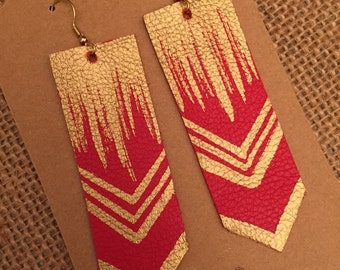 Red leather earrings gold accents