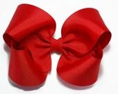 Red Hair Bow, Girls Hair Bows, 5 inch Hair Bows, Solid Color Hair Bows, Toddler Hair Bows, Big Hair Bows, Barrette or Alligator Clips, 500