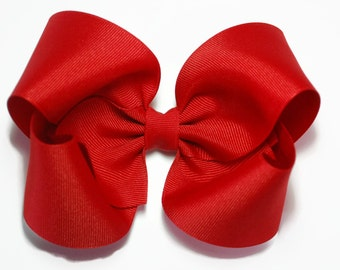 Red Hair Bow, Girls Hair Bows, 5 inch Hair Bows, Solid Color Hair Bows, Toddler Hair Bows, Big Hair Bows, Barrette or Alligator Clips, 500