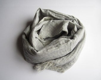 Gray linen scarf with fringe, Linen scarf, Organic linen scarf, Long scarf, Unisex