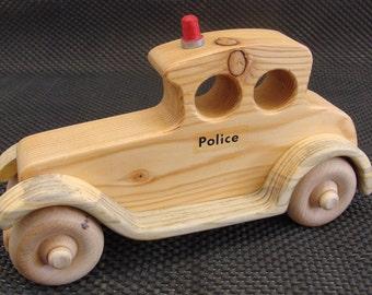 Handcrafted Old Sedan Police Car