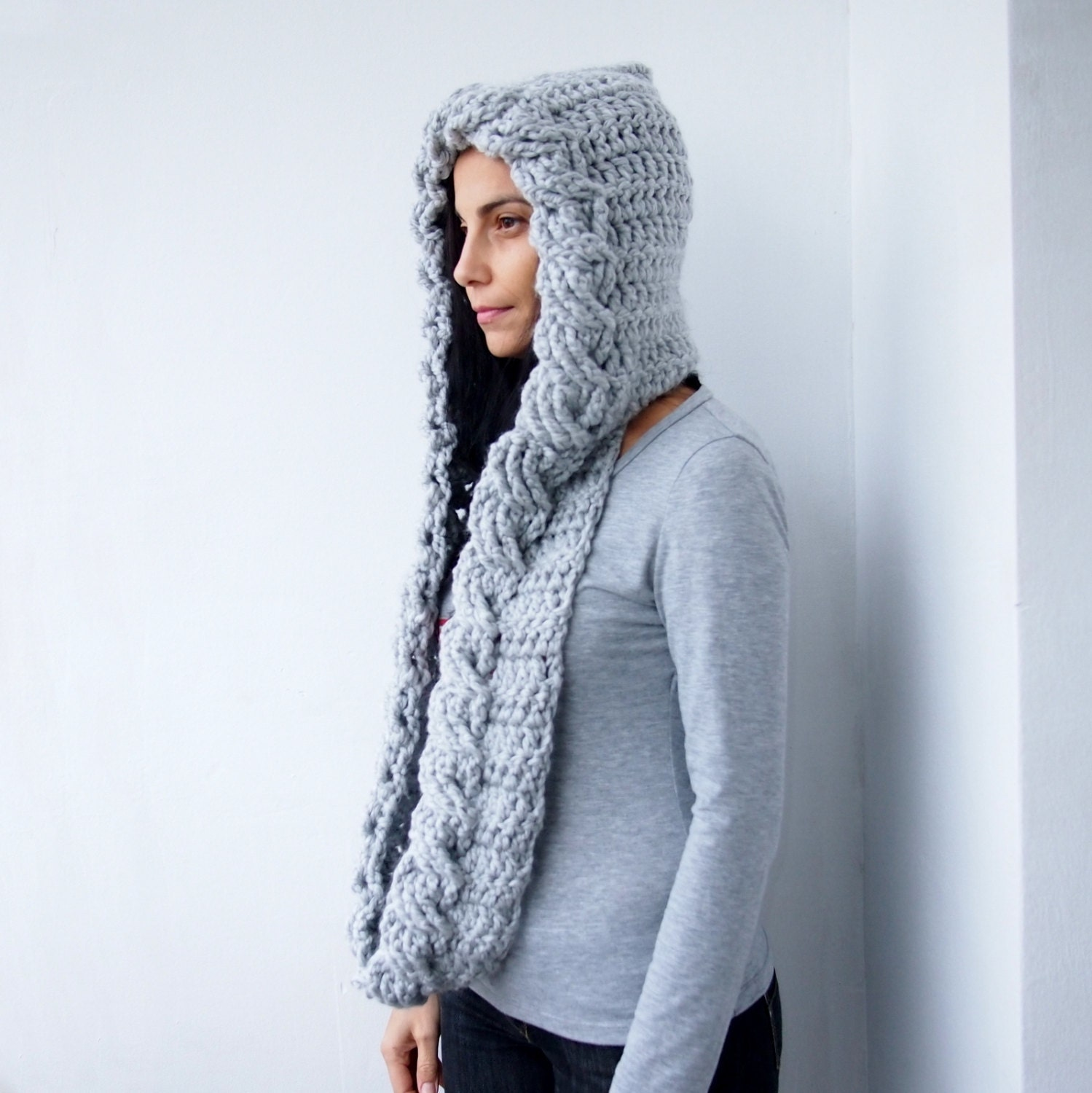 Crochet Pattern cable pixie Hood scarf loop by byaccessorise