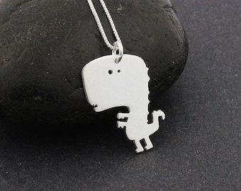 T rex necklace cute dinosaur sterling silver necklace cute tyrannosaurus rex pendant comes with Italian box chain