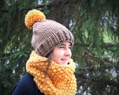 gift set, teen or adult knitted hat and cowl, wool and acrylic yarn