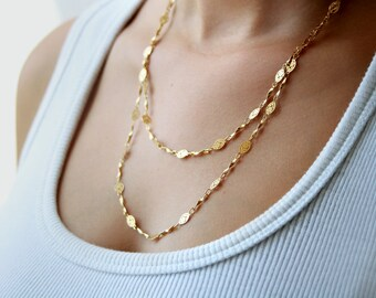 Long gold chain necklace / double strand gold chain necklace / birthday gift idea