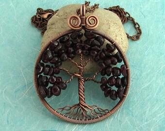 Tree-of-Life pendant Copper Tree of life family tree January-Birthstone Garnet copper Anniversary gift her Big pendant Copper jewelry MW20