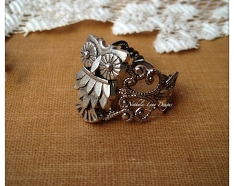Owl Ring, Owl Jewelry, Silver Ring, Filigree Ring, Bird Ring