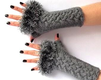 SALE - 50%OFF. Knit Fingerless Gloves. Dark Gray Gloves. Knit Wrist Warmers. Knit Mittens. Gray Knit Gloves. Fingerless Mittens.