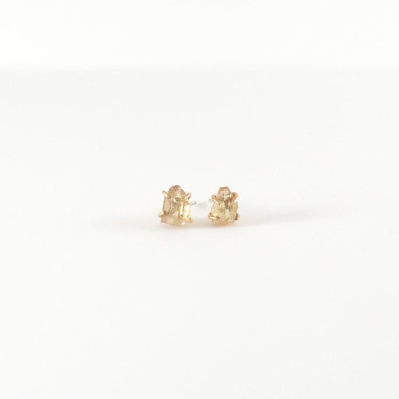 Topaz Earrings - Made to Order - Rough Crystal - Minimal - Gold
