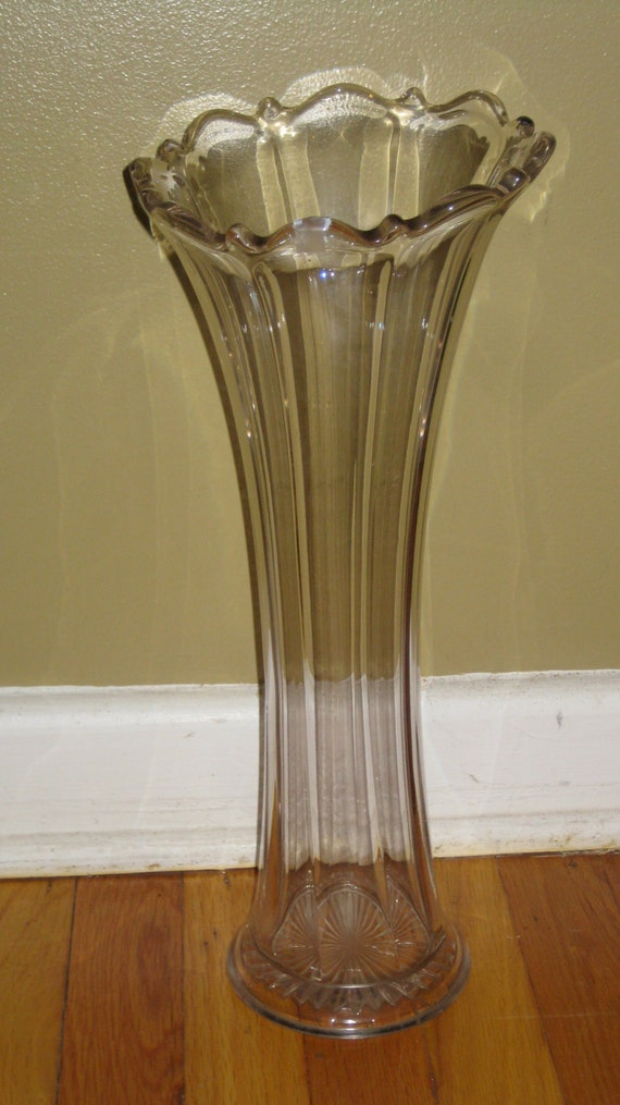 Victorian Heisey Vase Large Fluted Unsigned Antique Vintage