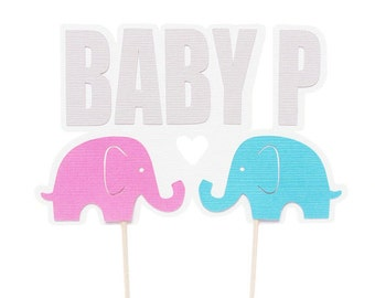 Baby Elephant Cake Topper - Pink and Blue Elephant Cake Topper - Elephant Baby Shower Cake Topper - Elephant Birthday Cake Topper -