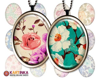 30x40mm, 18x25mm, 13x18mm Oval images FLORAL PATTERNS Digital Collage Sheet Printable download for pendant Earrings Rings bezel cabs trays