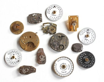 Vintage Lot of 14 Steampunk Watch Parts Gears and Time Lock Parts