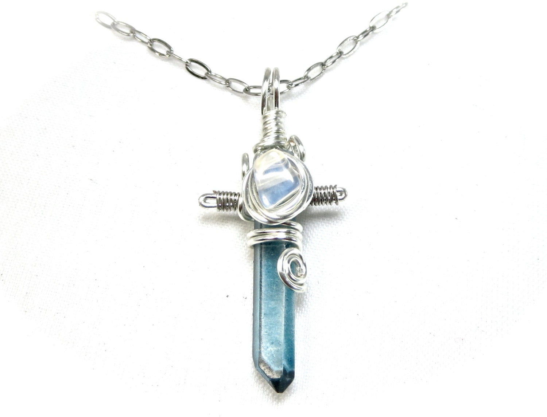 blue crystal sword necklace