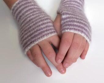 Mohair Hand Knit White Rabbit Fingerless Mitts