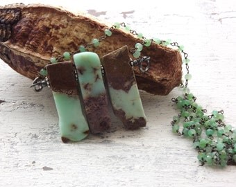 Chrysoprase necklace long necklace boho necklace gemstone necklace fall green forest woodland boho country chic necklace chrysoprase jewelry
