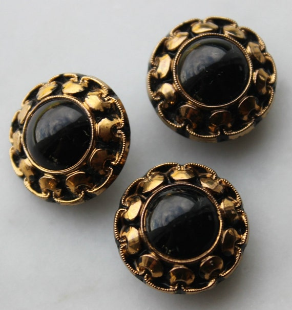 """Vintage 3 pieces Black and gold glass buttons. elegant. perfect condition. made in Germany US Zone. 3/4 """" diameter sewing notions"""