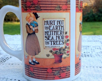 Mary Engelbreit Coffee Mug / Tea Mug / Quote: Hurt Not The Earth Neither The Sea Nor The Trees / Mary Englebreit Cup /  Checkerboard Handle