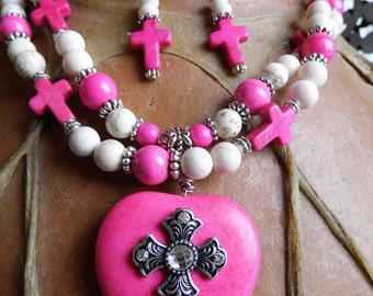 Chunky western rhinestone cross and pink magnesite heart neecklace and earring set