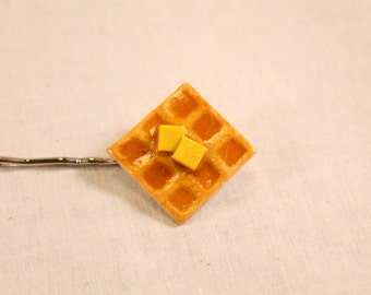 Waffle with Syrup and Butter Hair Pin Polymer Clay Food Jewelry