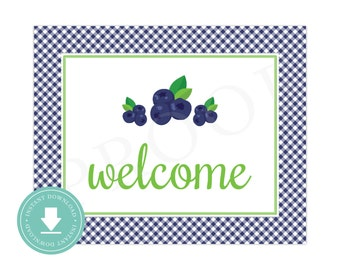 INSTANT DOWNLOAD Blueberry Welcome Sign (Blueberry Birthday, Blueberry Baby Shower, Blueberry Party, Printable Blueberry Welcome Sign)