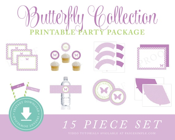 ... Butterfly Birthday, Garden Party Instant Download, Purple Butterfly